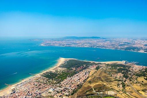 Costa Da Caparica, Mar, Costa, Blue, City, Tagus River