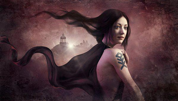 Fantasy, Woman, Gloomy, Wind, Black, Hair, Tattoo