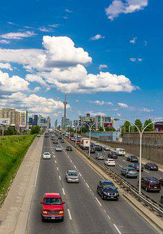 City, Landscape, Clouds, Sky, Toronto, Canada, Highway
