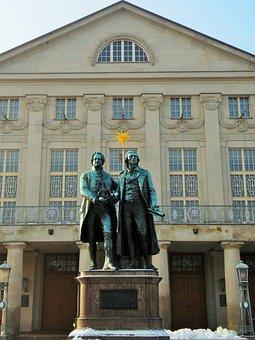 Schiller, Goethe, Weimar, Monument, Art, Germany
