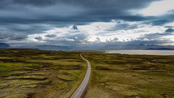 Way, Iceland, Zdrona, Dji, Sky, Mountains, Clouds