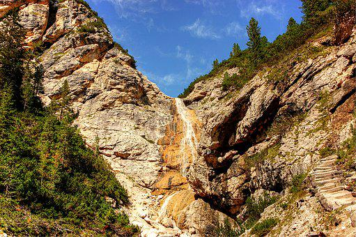 Waterfall, Dolomites, Landscape, Nature, Sky, Forest