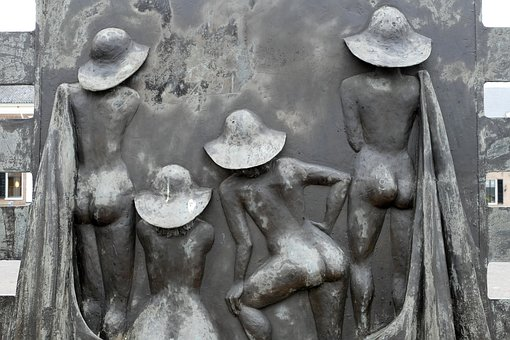 Image, Statue, Art, Woman, Nude, Brass, Sun, Bath, Hat