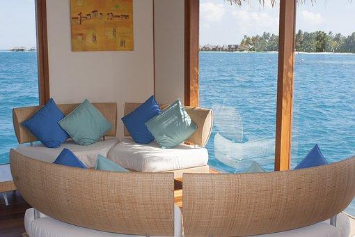 Maldives, Conrad, Atoll, Waiting Room, Sofa, Cushion