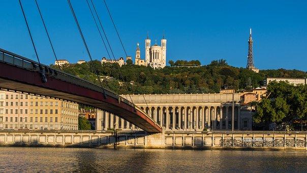 Saint-jean-fourvière, View, Lyon, Saone, Wharf, Morning