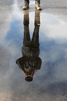 Man, Photographed, Water, Puddle, Mirroring, Rain
