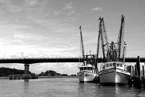 Shrimp Boats, Fishing Nets, Commercial Fishing, Sea