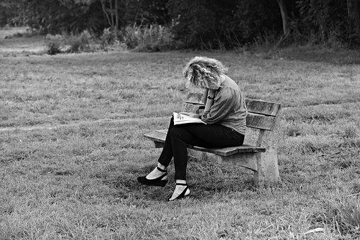Woman, Sitting, Bench, Reading, Concentration, Outdoors