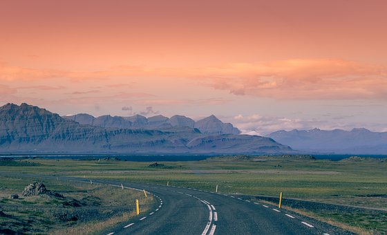 Iceland, Way, Landscape, Road, Sky, Mountains, Clouds