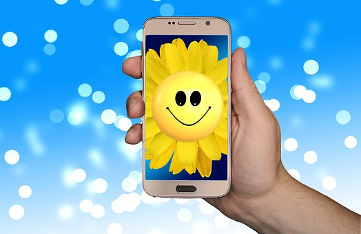 Smartphone, Sunflower, Smilie, Smile, Joy, Look Forward