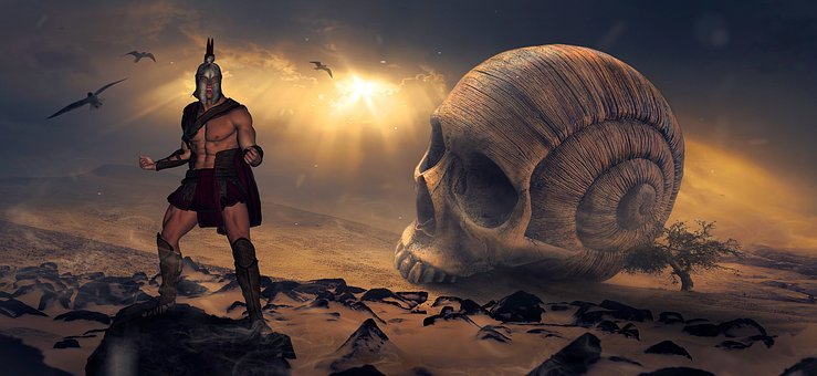 Fantasy, Warrior, Skull, Landscape, Mystical, Sage