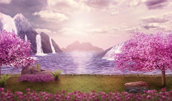 Background, Fantasy, Landscape, Mountains, Waterfalls