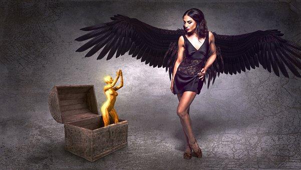 Fantasy, Angel, Black, Box, Figure, Golden, Wing, Scene