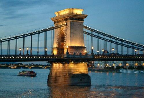 Bridge, Hungary, Danube, Water, Cityscape, River, City