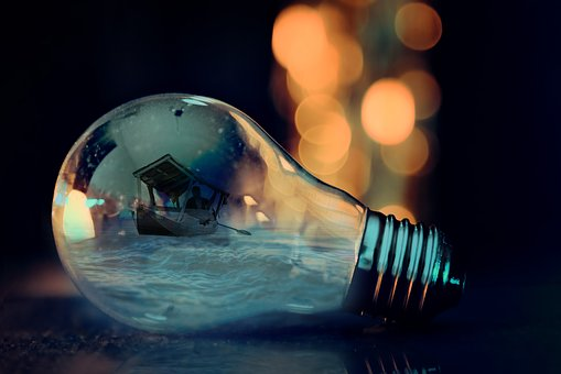 Bulb, Ocean, Boat, Shikara, Art, Graphics, Imagination