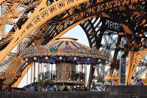 Paris, Eiffel Tower, Attraction, Carousel