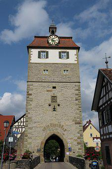 Vellberg, Gate Tower, Clock Tower, Mansard Roof