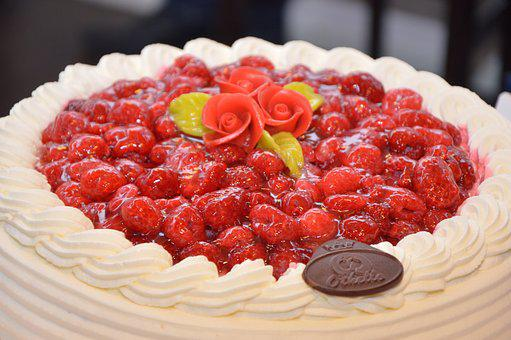 Strawberry Cake, Cake, Delicious, Food, Cream, Birthday