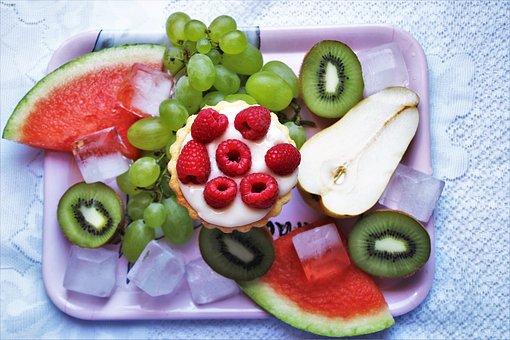 Fruit, Bio, Kiwi, Watermelon, Raspberries, Ice Cubes