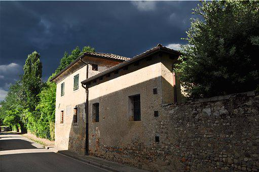House, Storm, Italy, The Sun, Lake Dusia, Old, Building