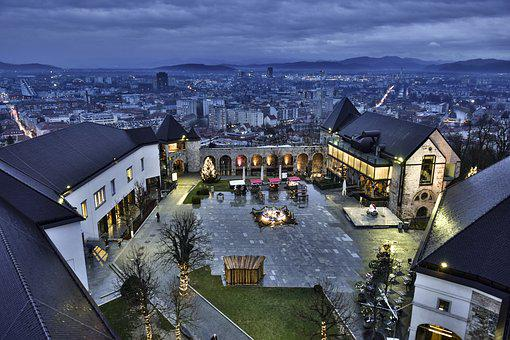 Europe, Ljubljana, Castle, Ljubljana Castle, Night View