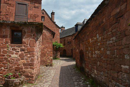 Collonges Red, Village, Medieval, Red Wall