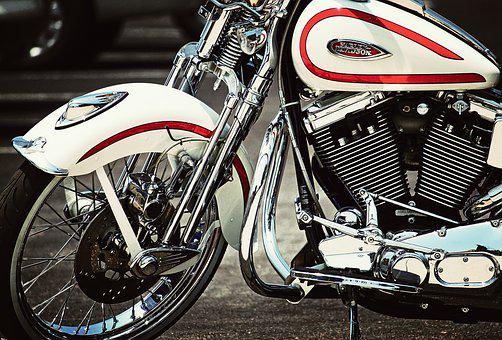 Harley Davidson, Motorcycle, Red, White, Chrome