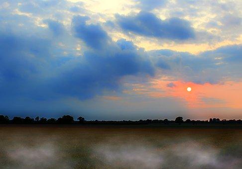 Landscape, Northern Germany, Sunset, Fog, Nature, Rest