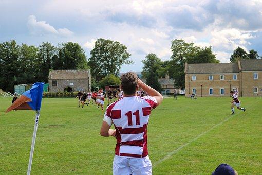 Rugby, Touchline, Flag, Red, White, Stripes, Black