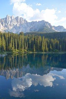 South Tyrol, Lake, Dolomites, Mountains, Sky, Bergsee