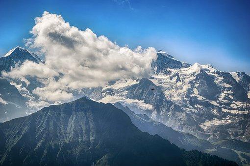 Landscape, Switzerland, Mountains, Sky, Blue, Snow