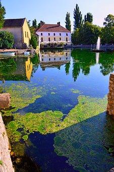Lake, Tapolca Lake, Water, Clean, Mill Pond, Fountain