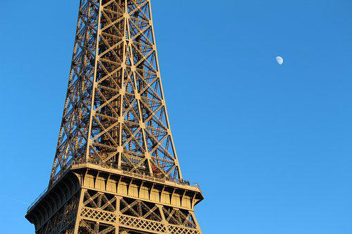 Paris, Eiffel Tower, Attraction, Moon, France, Tower