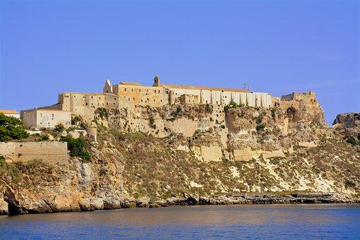 Castle, Cliff, Rock, Sea, Water, Promontory, Island