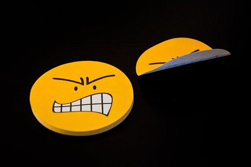 Post It, Yellow, Smiley, Evil, Emoji