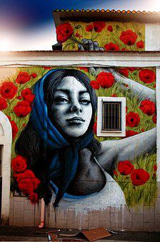 Article, Murals, Face, Expression, Girl, Wall, Look
