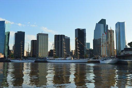 Boats, Frigate, Port, Dock, Bay, City, Skyscraper