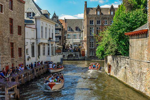 Belgium, Brugge, Canal, Boats, River, Architecture