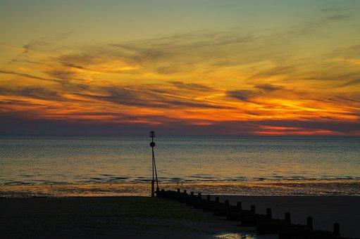 Sunset, Seaside, Sea, Ocean, Sky, Clouds, Dusk