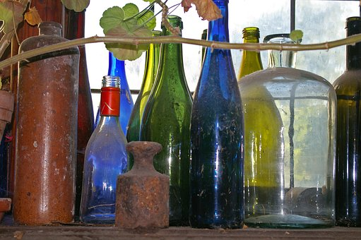 Old Bottles, Dusty, Colorful Bottles, Antiquity