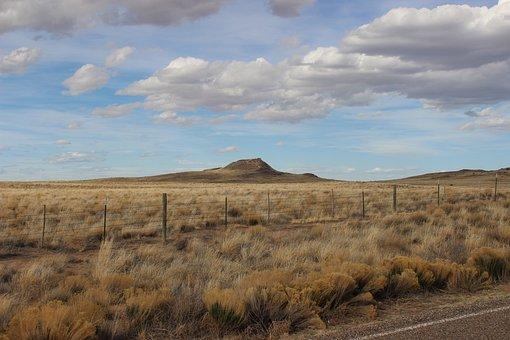 Volcano, Desert, Volcano In Desert