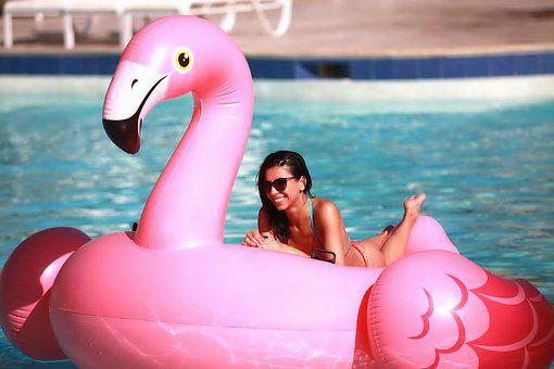 Flamingo, Pool, Sea, Water, Inflatable, Rosa, Elegance
