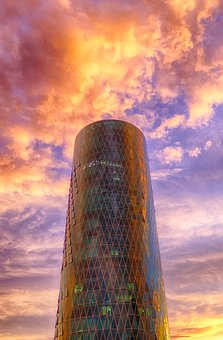 Skyline, Skyscraper, Glass, Window, City, Sky, Clouds
