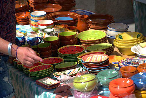 Market, Ceramic, Sale, Colorful, Craft, Stand, Pottery
