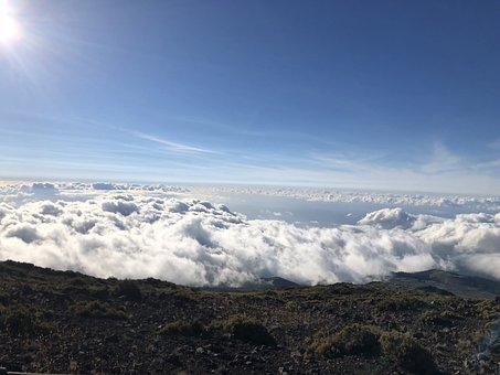 Maui, Hawaii, Sunset, Haleakala, Volcano, Landscape