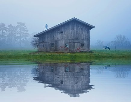 Water, House, Barn, Outdoors, Nature, Lake