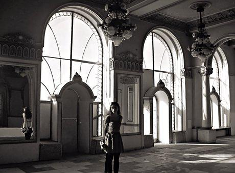 The Palace, Girl, Reflection, Mirror, Casino, Romania