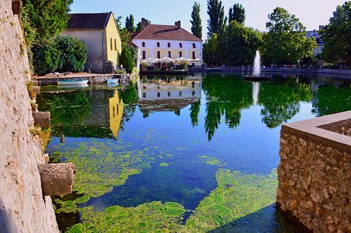 Lake, Tapolca Lake, Water, Clean, Mill Pond, Fountain