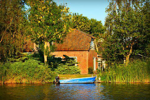 Farmhouse, House, Property, Water, River, Rushes, Boat
