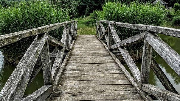 Bridge, Wooden, Old, Railing, Scenic, Outdoor, Woods